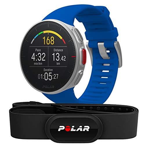 Polar Vantage V HR -Reloj premium con GPS y Frecuencia cardíaca - Sensor H10 - Multideporte y perfil de triatlón - Potencia de running, batería ultra larga, resistente al agua - Azul