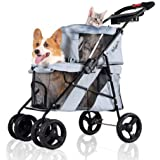 Double Pet Strollers for Dogs and Cats, 4 Wheel - Premium Dog Stroller for Twin or Multiple Small and Medium Pets - Puppy Str