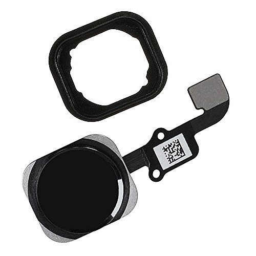 Johncase Home Button Flex Ribbon Cable Assembly w/Rubber Gasket Replacement Part Compatible for iPhone 6 4.7/6 Plus 5.5 (Black) - Oem Home Button