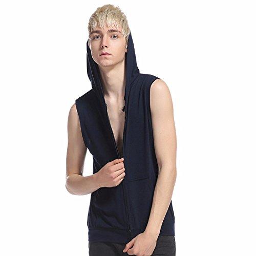 Hip-Hop Hombres Casual con capucha Cierre para arriba la camiseta sin mangas de la camiseta del bolsillo del bolsillo Sudadera con capucha Navy