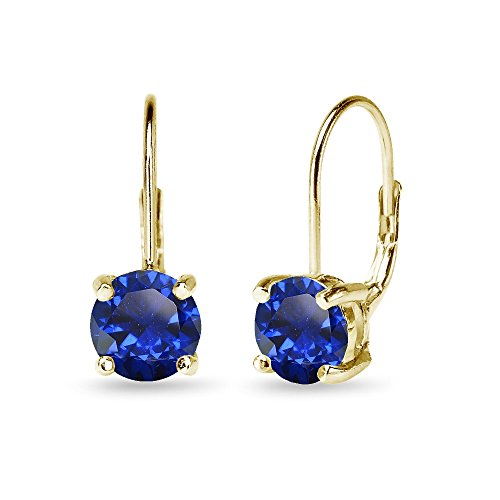 Yellow Gold Flashed Sterling Silver Polished Created Blue Sapphire 7mm Round Dainty Leverback Earrings