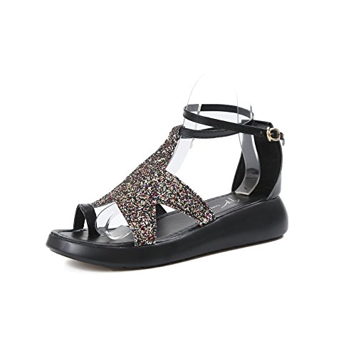 Womens Toe T Flops Sparkle Ladies on Dressy Girls Black Bohemia Sandals Slip Flip Clip JULY Flat Glitter Sequins 7B5wr7qz