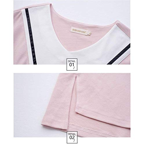 Mujer Pijama Ropa Cómodo Manga Vestido Fashion Bastante Dormir Elegantes Cuello Pink Camisones Verano Noche Anchas Camisón Asimetricos Larga De Redondo Abiertas qqrF7d