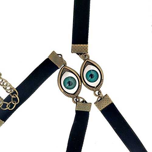 HyperionIE Gothic Horror Eyeball Choker Necklace and Bracelet Set for Halloween Masked Ball Costume -