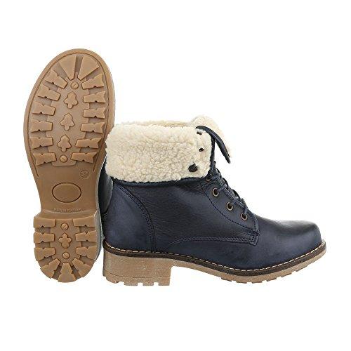 Stiefel Design Schnürsenkel Klassischer Leder Damenschuhe Schnürstiefeletten Blockabsatz Ital Dunkelblau Schnürer Stiefeletten RqKXawdxpf