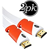 Flat HDMI Cable 6 ft - 2-Pack - High Speed HDMI Cord - Supports, 4K Video at 60 Hz, 3D, 2160p - HDMI Latest Standard - HDCP 2.2 Compliant, CL3 Rated - 6 Feet