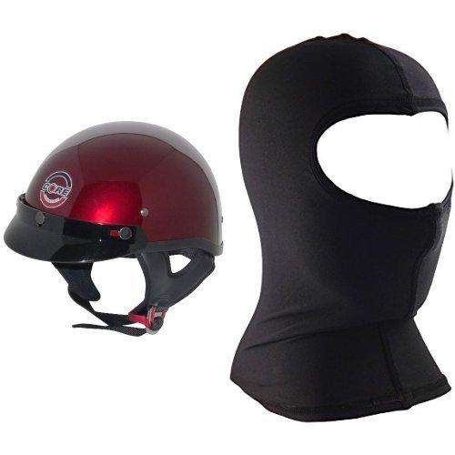 Core Cruiser Shorty Half Helmet (Wine, XX-Large) and Core Nylon Balaclava (Black, One Size) Bundle