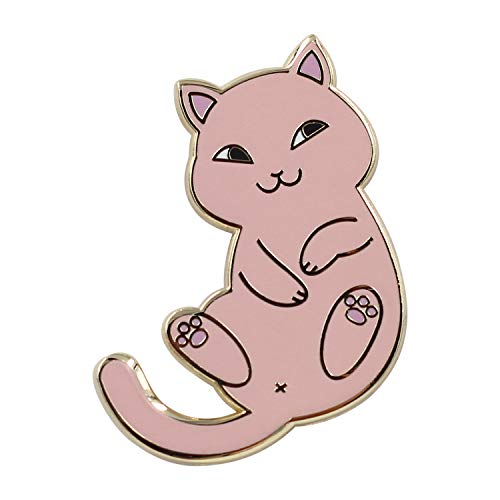 Real Sic Playful Cat Enamel Pin - Cute & Funny Cat Lapel Pin in for Jackets, Backpacks, Tops, Bags & Hats (Pink)