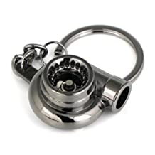 Maycom® Creative Spinning New Turbo Turbocharger Keychain Key Chain Ring Keyring Keyfob (Gunmetal Black)