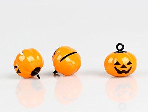 Fashion lab 20 Pcs Orange Pumpkin Copper Bell 19 X 19 Mm Jewelry Findings Pumpkin Jewelry Making Charms #2537