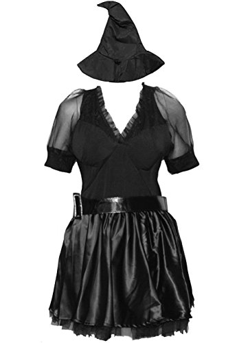 BSLINGERIE Women Dark Witch Vampire Halloween Costume Dress (M, Black) (Cheers And Beers Costume)