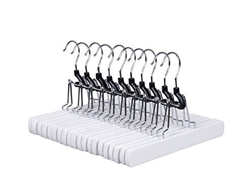 Amber Home Solid Wood Non Slip Collection Slack Hanger Wood Pant Hangers with Anti-rust Hook Wood Skirt Hangers, Wood Clamp Hangers White Color 10 Pack