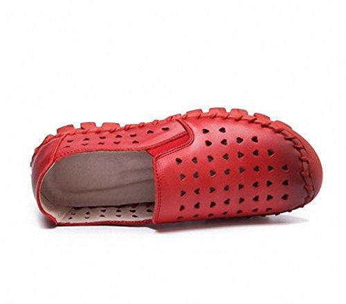 Mocassini Donna Fashion Scava Fuori Mocassini Da Guida Slip-on Casual Flat Shoes Rossi
