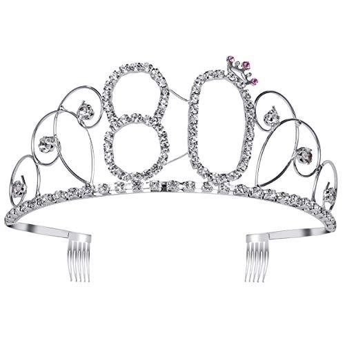 Frcolor Happy Birthday 80th Crystal Rhinestone Tiara