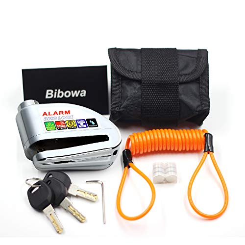 (Bibowa Anti-Theft Alarm Disc Lock - Motorcycle Lock - Scooter Locks -Disc Brake Lock 110dB Alarm Sound and 6mm Pin with Reminder Cable (Silver))