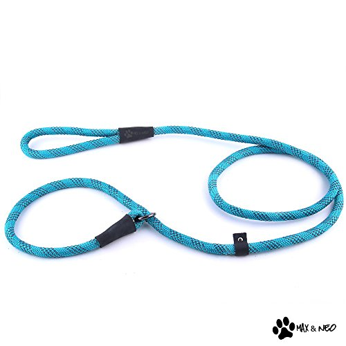 Max and Neo Rope Slip Lead Reflective 5 Foot - We Donate a Leash to a Dog Rescue for Every Leash Sold (TEAL, 5FT X 1/2'') by Max and Neo