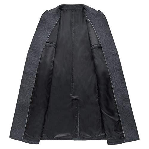 length Youth Men Outerwear Mid For Fleece Woolen Male Jacket Banquet Dress Gentleman breasted Windbreaker Double BlackGrey Coat Formal Lapel qItf1