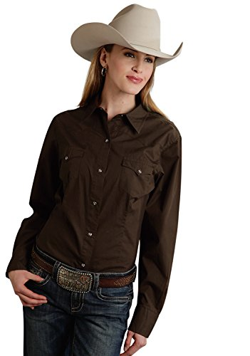 - Roper Women's Amarillo Solid Pearl Snap Western Shirt Plus Chocolate 3X