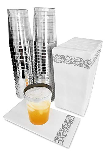 50 Premium Linen-Feel Wedding Napkins & 50 Plastic Drink Cups| Disposable | Cloth-Like Decorative Guest Hand Paper Towels | Tumblers for Parties | White Silver Gray
