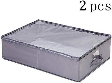 LHY SAVE 2 Pack Cajas almacenaje Ropa Plegable Caja bajo Cama organizadoras con Transparente asa y Tapa para Ropa/Zapatos, Mantas: Amazon.es: Hogar