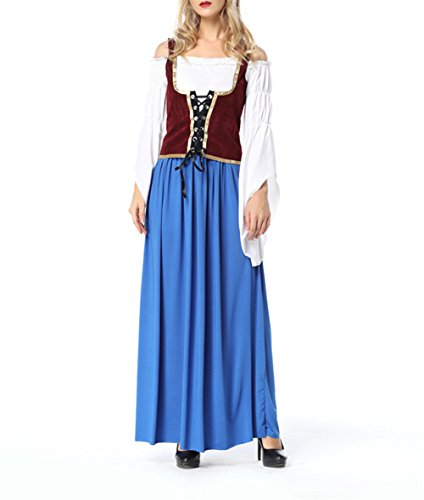 SEVEN O Womens Drindl Dress Oktoberfest Costume Bavarian Beer Halloween Fancy Dress (US6, (Serving Wench Costumes Renaissance)