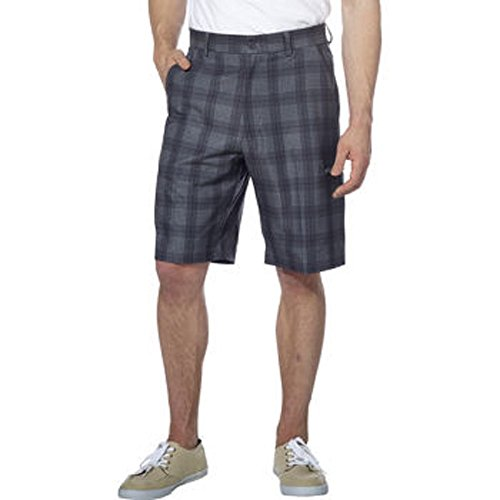 Pebble Beach Men's Performance Short-Black/Gray Plaid, 34 - Mens Plaid Golf Shorts
