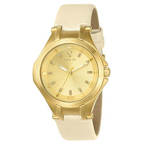 Invicta 23253 Women's Gabrielle Union Gold Tone Dial Beige Leather Strap Diamond Watch