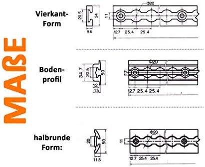 2 m Eckig 0,5-2,0 m Airlineschiene Alu ProFix/® Ladungssicherung LKW PKW Zurrschiene