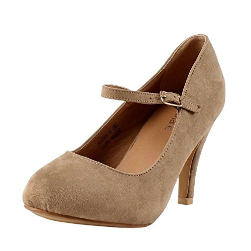 Brown Suede Jane Mary - Bella Marie Helena-13 Women's almond toe low heel mary jane glitter or suede pumps Taupe 9