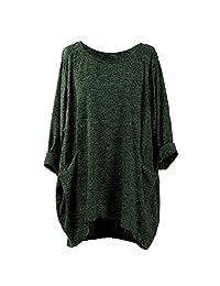 Theshy Fashion Womens Long Sleeve O Neck Pocket T Shirts Loose Casual Blouses