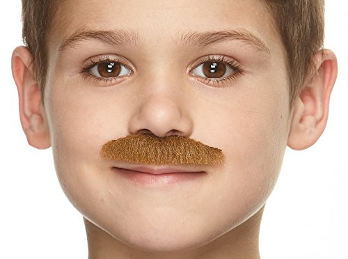 Mustaches Fake Mustache, Self Adhesive, Novelty, Small Policeman False Facial Hair, Costume Accessory for Kids, Chestnut Color -