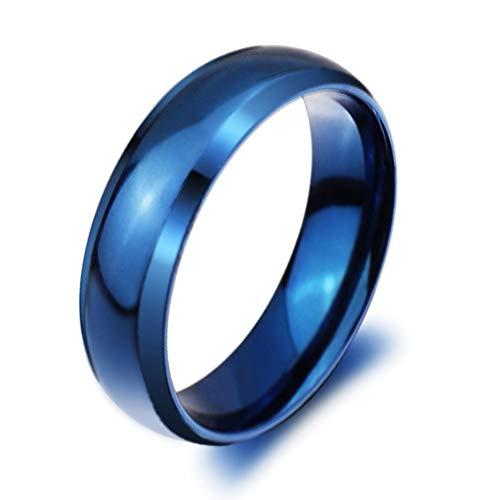 Mingjiahui Classic Flat Polished Blue Titanium Steel Wedding Band Ring 6mm Width Size 9