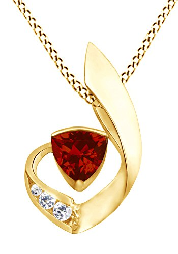 Garnet Trillion Necklace (AFFY Simulated Garnet & White Cubic Zirconia Fashion Pendant Necklace in 14K Yellow Gold Over Sterling Silver)