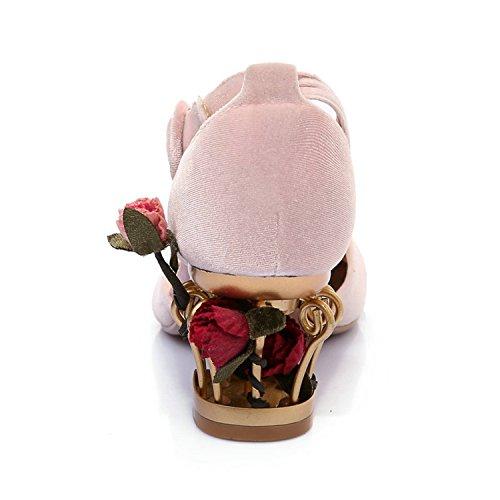 Alti Rosso Tacchi In Pattini Gabbia Caviglia Modo Delle Bang Spessore Pompe pa Di Partito Di Donne Del Alla Rosa Cinturino Fiore qOpW7