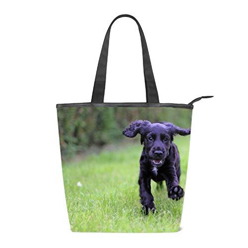Women Canvas Handbag Happy Cocker Spaniel Purse Shoulder Bag Messenger Bag Mom Bag for Women