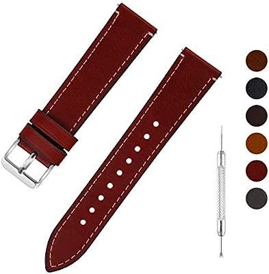Fullmosa Correa Reloj de Cuero Cera Aceite 6 colores, Pulsera de Reloj de Reemplazo de Piel Becerro con Pasador de Liberación Rápida 14mm 16mm 18mm ...