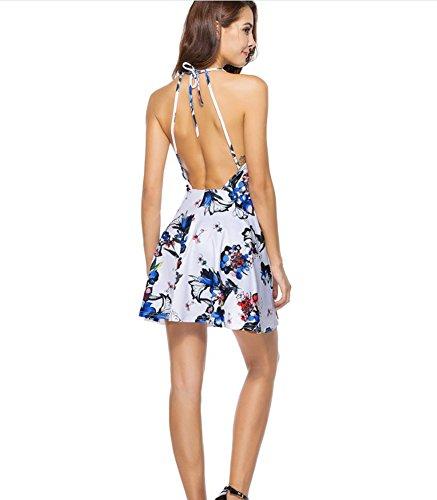 Bohemian Neck Flower Sexy Print Skirt Mini Sleeveless Womens V Dress Print Floral Blinvas agRC6tTqT