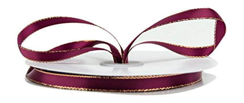 Ribbon Bazaar Double Faced Satin with Metallic Edge 3/8 inch Wine (Gold Edge) 50 yards Ribbon