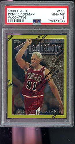 1996-97 Topps Finest #145 Dennis Rodman Gladiators Gold Chicago Bulls NBA PSA 8 Graded Basketball Card