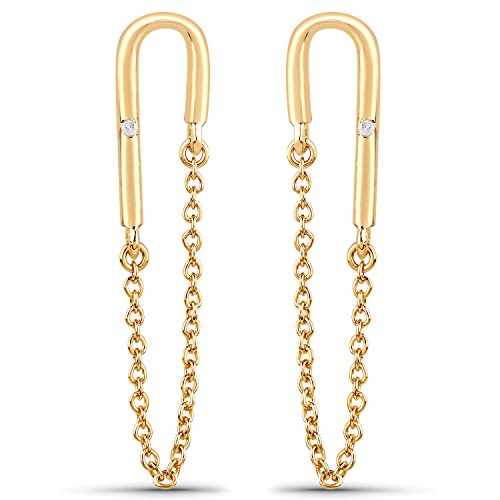 LoveHuang 0.01 Carats Genuine White Diamond (I-J, I2-I3) Dangling Chain Earrings Solid .925 Sterling Silver With 18KT Yellow Gold ()