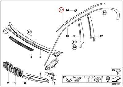 BMW Genuine Exterior Trim Grill Roof Molding Prime-Coated Right 320i 323i 325i 325xi 328i 330i 330xi