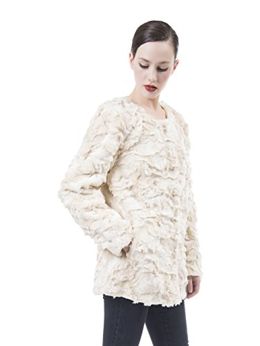 DU MONDE Women's Smooth Warm Soft Lush Faux Fur Coats Mid-Length Fluffy Jacket For Winter