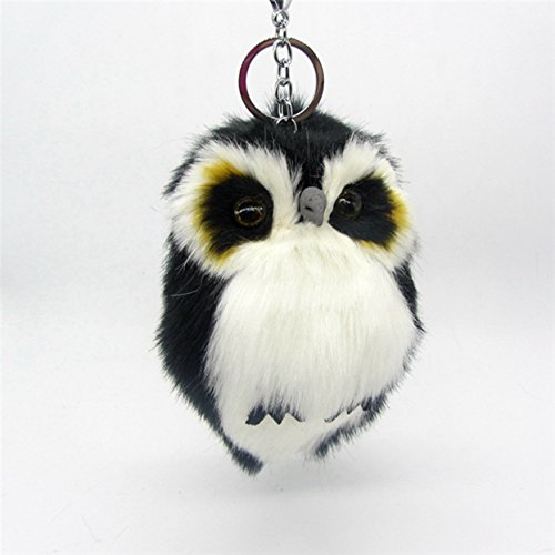 1 Pc Mini Pocket Fluffy Owl Fur Pompom Keychain Keyring Keyfob Rabbit Trinkets Keys Chains Rings Tags Strap Wrist Unblemished Popular Cute Wristlet Utility Keyrings Tool Teen Women Girl Gift, Type-01