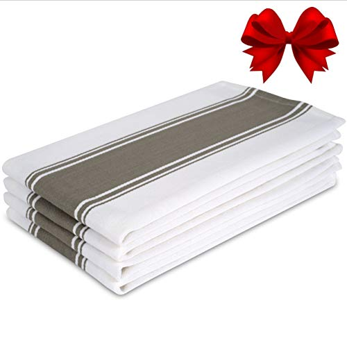 Kitchen Dish Towels - Set of 4 Cotton Tea Towels 20 x 28 inch - Best Dish Cloths for Hand Towels or Embroidery