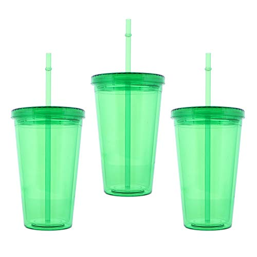 18 Oz Green Tumbler With Screw On Lid And Straw - Set of 3 -  SandT Collection