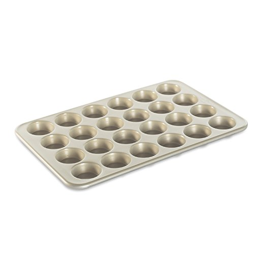Nordic Ware Natural Aluminum NonStick Commercial Petite Cakes Muffin Pan, Mini, 24-Inch by 2-Inch Cups