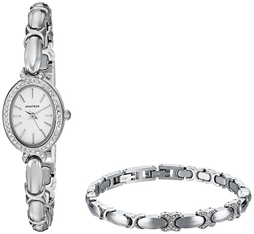 Armitron Women's 75/5395MPSVST Swarovski Crystal Accented Silver-Tone Watch and Bracelet Set