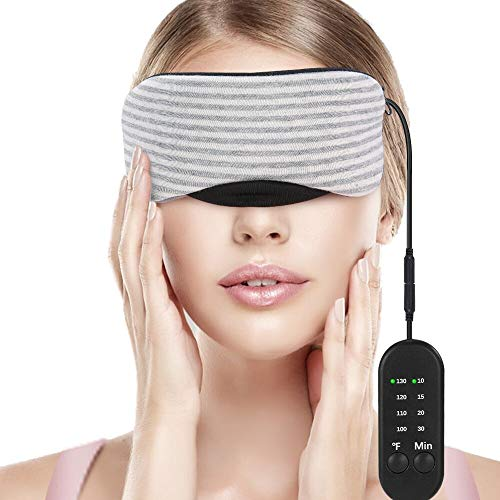 Heated Eye Mask, Esonmus USB Sleep Mask with Adjustable Temperature and Time Control, Warm and Cold Massage to Relieve Dry Eye Syndrome, Eye Stress, Tired Eyes, with Earplugs