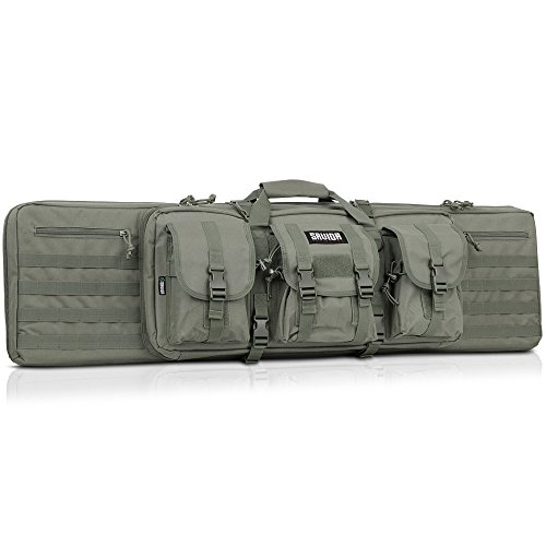 (Savior Equipment American Classic Tactical Double Long Rifle Pistol Gun Bag Firearm Transportation Case w/Backpack - 55 Inch Ash Gray )
