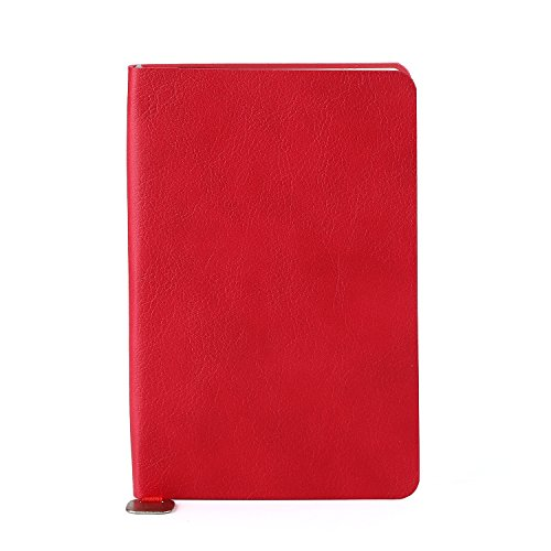 Ivory Pu Leather (JINGOFFICE Classic Memo Notebook with Flat PU Leather Cover, Ivory Paper, Pocket, Mini Journal, Standard Ruled, 3.5